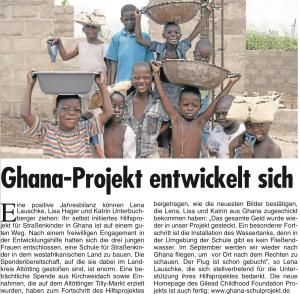 Ghanaprojekt entwickelt sich